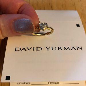 💯 Authentic David Yurman gold/diamond heart ring
